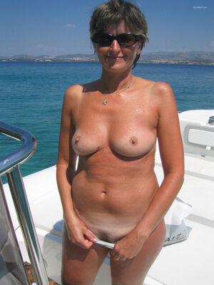Hairy milf nude sunbathing oral and full sex on board a fishing boat